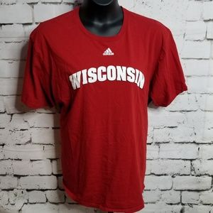 Adidas Wisconsin Badgers Red & White Tee 2X